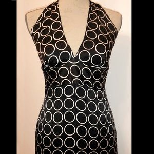black silk halter dress with white circle print M